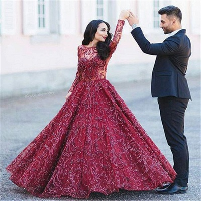 Glamorous Long Sleeves Open Back Evening Dresses   Crystal Puffy Formal Dresses_6