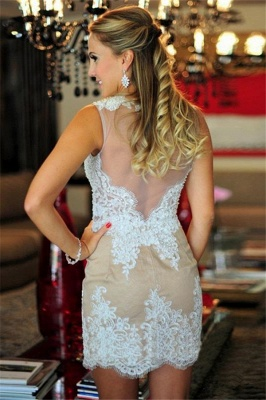 Sexy Lace Short  Homecoming Dresses Latest Sheer Back Mini Cocktail Gowns_3