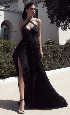 New Arrival Hlater Chiffon Evening Gown Simple Open Back Slit  Prom Dress BA2092_1