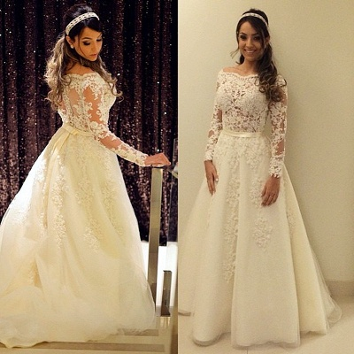 Elegant A-line Scollaped Long Sleeve Wedding Dresses   Bridal Gowns_3