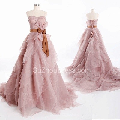 Cute Tiered Sweetheart Long Prom Dress Latest Sweep Train Lace-Up Popular Women Dresses with Bowknot_2