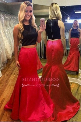 Mermaid Gorgeous Two-Piece Sleeveless Red Black Evening Dress_1