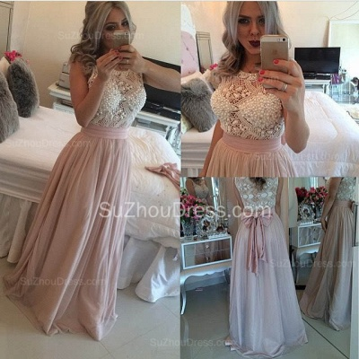 Elegant Pink Chiffon Long Prom Dress with Beadings New Arrival Evening Dress  BMT115_2