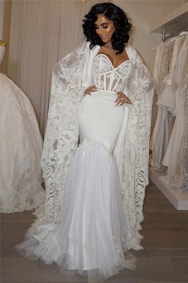 Gorgeous Sweetheart White Mermaid Wedding Dress Lace Long Bridal Gowns_1