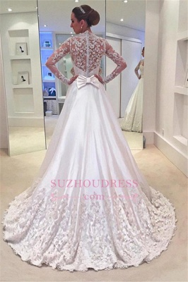 Appliques Sweep Train Long Sleeves Bride Dress Bowknot A-Line  Wedding Dress_1