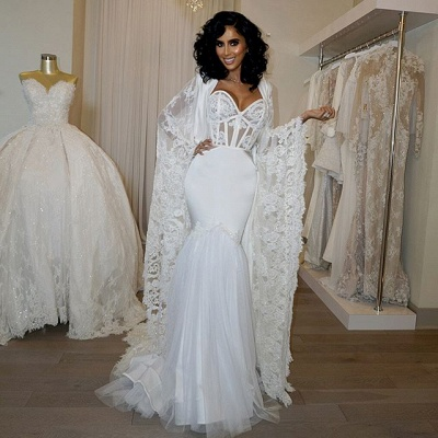Gorgeous Sweetheart White Mermaid Wedding Dress Lace Long Bridal Gowns_3