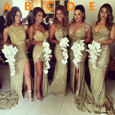 Sexy Gold Sequins  Bridesmaid Dresses Side Slit Sparkly Wedding Party Dress BO8128_1
