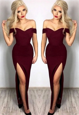 New Arrival Off-the-Shoulder Simple Prom Dresses  Side Slit Floor Length Evening Gowns_4