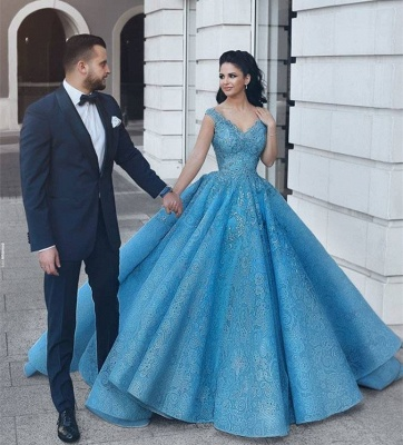 Puffy Lace V-Neck Evening Dresses | Sleeveless Blue Wedding Reception Dress_3