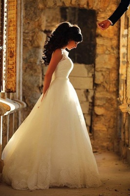 A-Line Elegant White Lace Wedding Dress Tulle Formal Sweep Train Custom Made Bridal Gowns_4