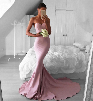 Red Sweetheart Long Sheath Prom Gowns  Mermaid Strapless Gorgeous Evening Dresses BA3534_4