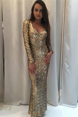 Sparkly Sequins Prom Dress  Long Sleeve Sheath Open Back Evening Gown_1