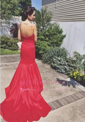 Mermaid Red Sweep-Train Newest Sleeveless Sweetheart Prom Dress_3
