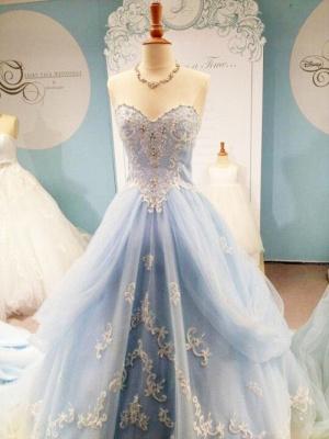 Sky Blue Style  Evening Dresses Sweetheart Rhinestone Elegant Sheath Prom Gowns_1
