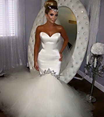 Sweetheart Fishtail Wedding Dresses Sparkly Crystals Puffy Tulle Bottom Bridal Gowns BA4020_3