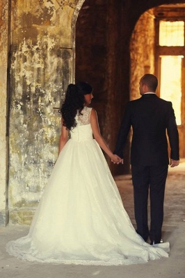 A-Line Elegant White Lace Wedding Dress Tulle Formal Sweep Train Custom Made Bridal Gowns_5