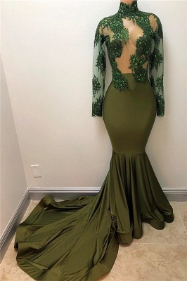 Oliva Green Prom Dress Sexy Sheer Appliques Tulle Long Sleeve Mermaid Evening Gown BA7958_1