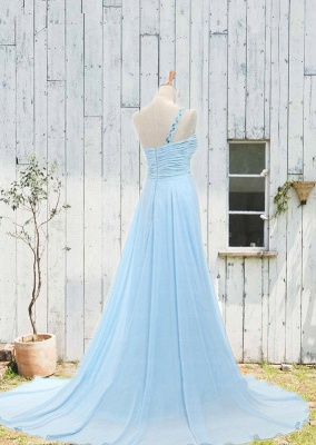 Sweetheart One Shoulder Crystal Prom Gowns Zipper Court Train  Party Dresses_2
