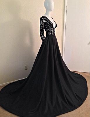 Black Lace  Long Evening Dress Elegant V Neck Popular Party Dress_2