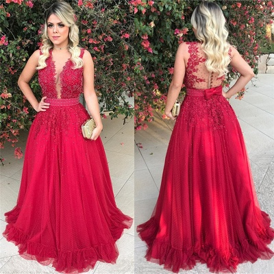 Sleeveless Red Tulle Prom Dress with Bowknot Sexy  Beads Sequins Appliques Evening Gown_5