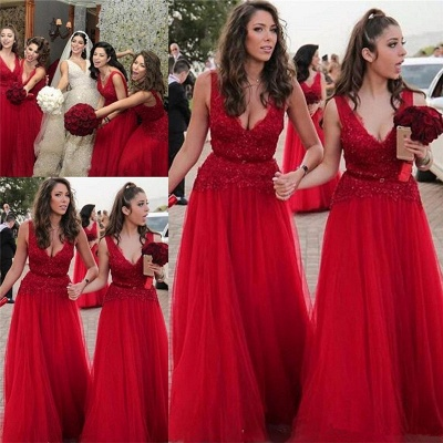 V-neck Beads Appliques Red Bridesmaid Dresses Sexy | Tulle  Long Bridesmaid Dress Online_3