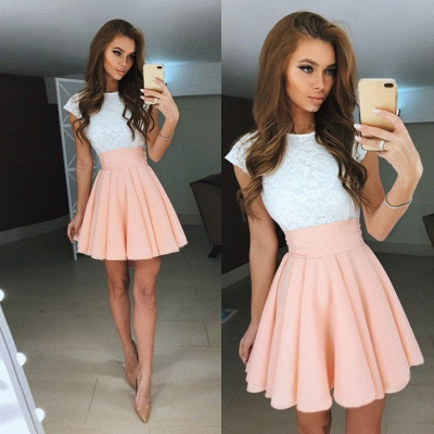 Cap Sleeves Lace Lovely Online Mini Homecoming Dresses_3