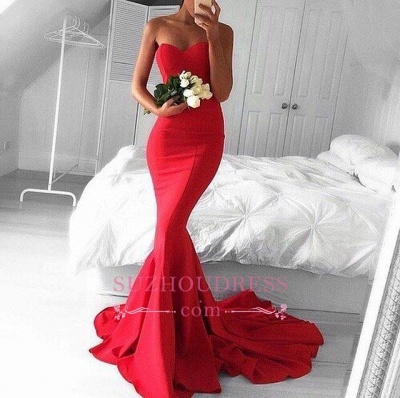 Red Sweetheart Long Sheath Prom Gowns  Mermaid Strapless Gorgeous Evening Dresses BA3534_1
