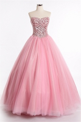 Latest Crystal Sweetheart Ball Gown Special Occassion Dresses Attractive Floor Length Tulle Quinceanera Dress_1