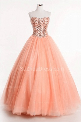 Latest Crystal Sweetheart Ball Gown Special Occassion Dresses Attractive Floor Length Tulle Quinceanera Dress_5