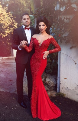 Red Prom Dress Sexy Mermaid Long Sleeve Sheath Evening Dress with Lace MH082 BA1771_1