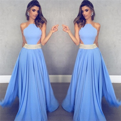 Sleeveless Sheer Back Sexy Formal Dresses   Blue Crystals Beads Belt Evening Gowns_3