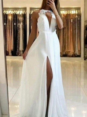 Elegant A-line Chiffon Evening Dresses  | Open Back Side Slit Prom Dress_4