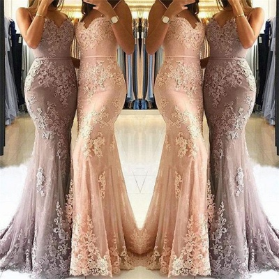 Spaghetti Straps Sexy Lace Prom Dresses  | Popular Sheath  Formal Evening Dress_3