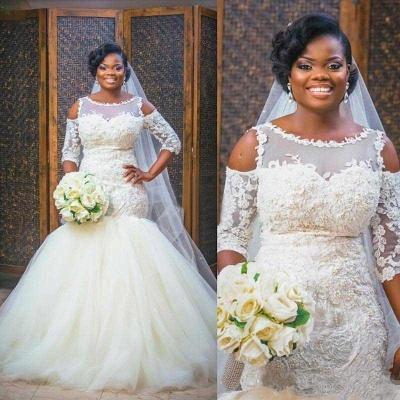 Mermaid Lace Appliques Half Sleeves Bridal Dresses Tulle Bottom Popular   Wedding Dress_3