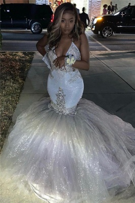 Spaghetti Straps Silver Sparkle Sequins Prom Dress 2019 | Beads Appliques Mermaid Sexy Prom Dress_3