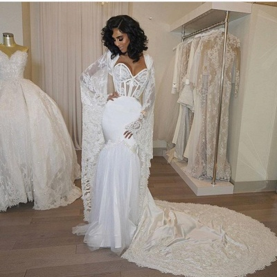 Gorgeous Sweetheart White Mermaid Wedding Dress Lace Long Bridal Gowns_4