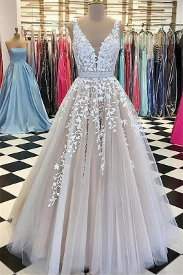V-neck Straps  Long Evening Dresses Lace Tulle Prom Dress with Beading Belt CE0208_5