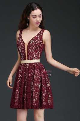 Sleeveless Short Burgundy V-Neck A-Line Lace Homecoming Dresses_4