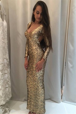 Sparkly Sequins Prom Dress  Long Sleeve Sheath Open Back Evening Gown_3