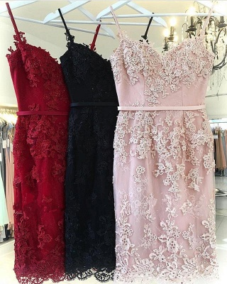 Pink Lace Sheath Short Party Dresses  | Sexy Straps  Homecoming Dresses Online_3