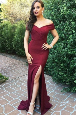 New Arrival Off-the-Shoulder Simple Prom Dresses  Side Slit Floor Length Evening Gowns_1