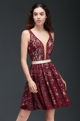 Sleeveless Short Burgundy V-Neck A-Line Lace Homecoming Dresses_5