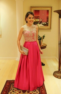 Elegant Satin A-Line Prom Gowns  Appliques Floor Length Evening Dresses with Buttons_1