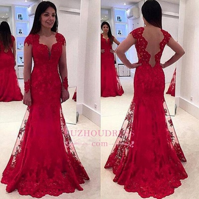 Red Long Sleeve Lace Evening Dresses  Sweep Train Sheer Tulle Modern Prom Dress_1