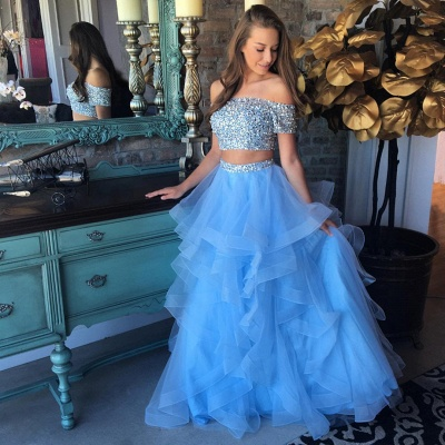 Off the Shoulder Crystals Beads  Two Piece Prom Dress Blue Organza Tiere Ruffles Evening Gown FB0227_3