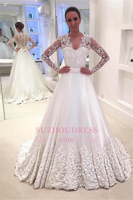 Appliques Sweep Train Long Sleeves Bride Dress Bowknot A-Line  Wedding Dress_3