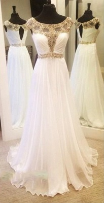 Gold Crystals  Prom Dresses White Chiffon Beaded A-line Evening Gown_4