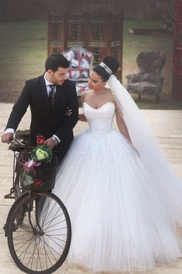 Latest Sweetheart Crystal Wedding Dress with Beadings Tulle Custom Made Ball Gown Princess Dress_1