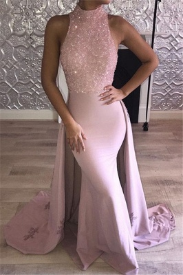 Gorgeouse Pink Mermaid Prom Dresses Sequins High Neck Sleeveless Evening Gowns_1