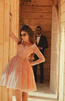 Cute Pink V-Neck Long Sleeve Homecoming Dress Latest A-Line Lace Knee Length Coctail Dresses BA7066_4